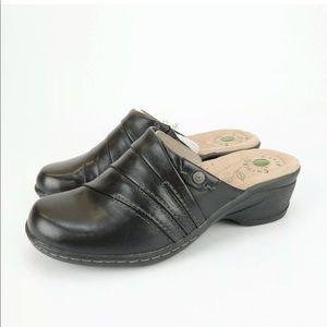 Earth Origins Ginger Black Soft Calf Leather Mules